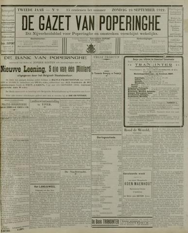 De Gazet van Poperinghe  (1921-1940) 1922-09-24