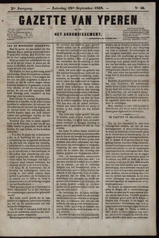 Gazette van Yperen (1857-1862) 1858-09-18
