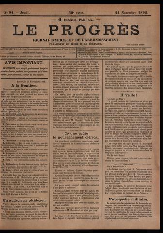 Le Progrès (1841-1914) 1892-11-24