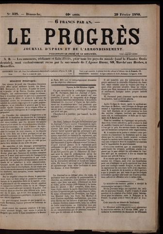 Le Progrès (1841-1914) 1880-02-29