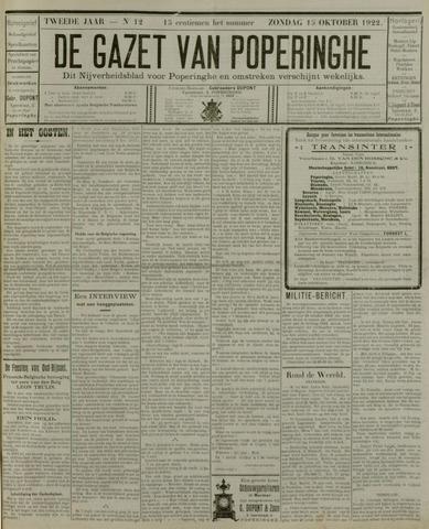 De Gazet van Poperinghe  (1921-1940) 1922-10-15
