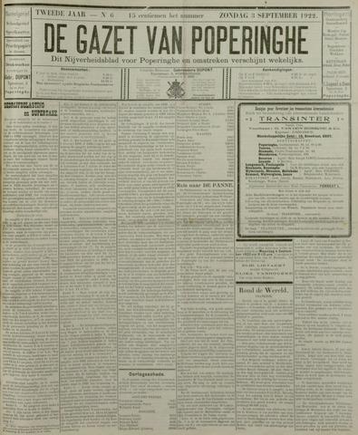 De Gazet van Poperinghe  (1921-1940) 1922-09-03