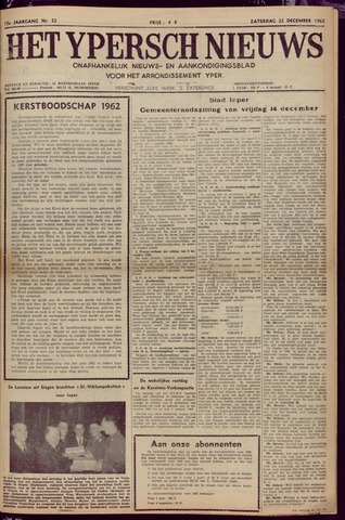 Het Ypersch nieuws (1929-1971) 1962-12-22