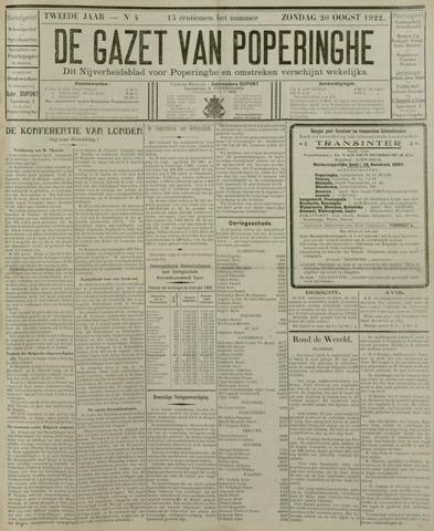 De Gazet van Poperinghe  (1921-1940) 1922-08-20