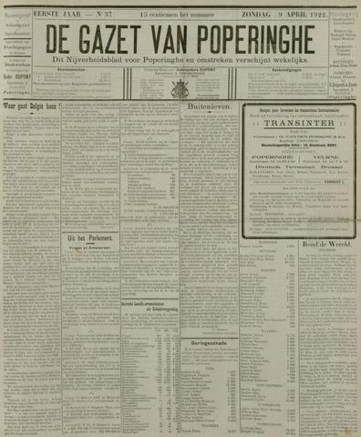 De Gazet van Poperinghe  (1921-1940) 1922-04-09