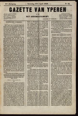 Gazette van Yperen (1857-1862) 1858-04-17