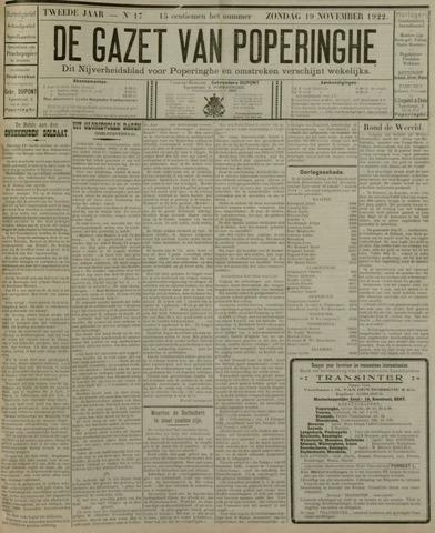 De Gazet van Poperinghe  (1921-1940) 1922-11-19