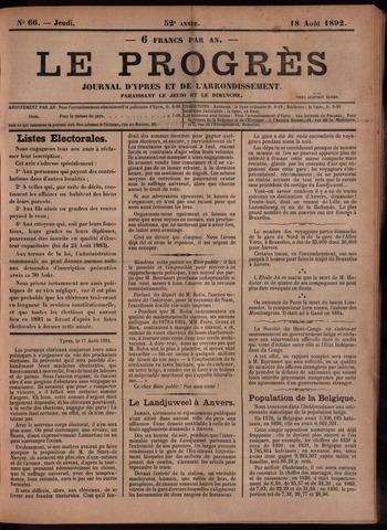 Le Progrès (1841-1914) 1892-08-18