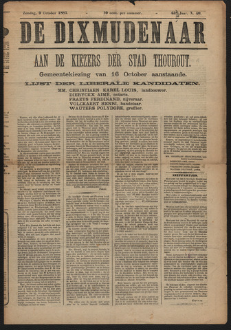 De Dixmudenaar 1887-10-09