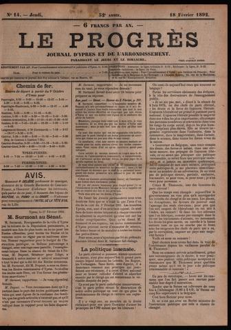 Le Progrès (1841-1914) 1892-02-18