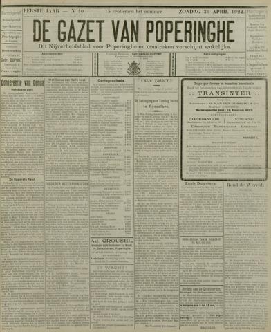 De Gazet van Poperinghe  (1921-1940) 1922-04-30
