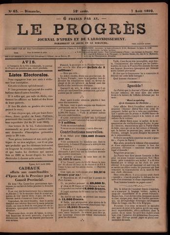 Le Progrès (1841-1914) 1892-08-07
