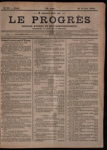 Le Progrès (1841-1914) 1892-02-25