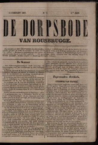 De Dorpsbode van Rousbrugge (1856-1857 en 1860-1862) 1857-02-10