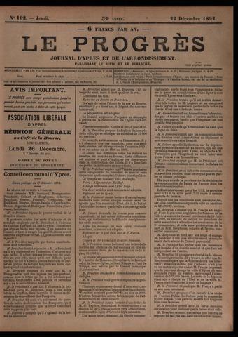 Le Progrès (1841-1914) 1892-12-22