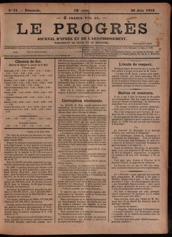 Le Progrès (1841-1914) 1892-06-26