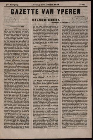 Gazette van Yperen (1857-1862) 1858-10-23