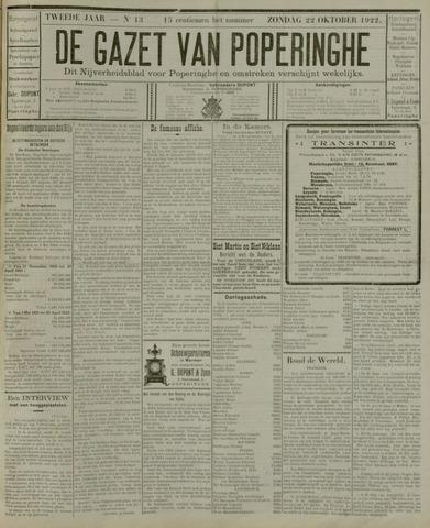 De Gazet van Poperinghe  (1921-1940) 1922-10-22