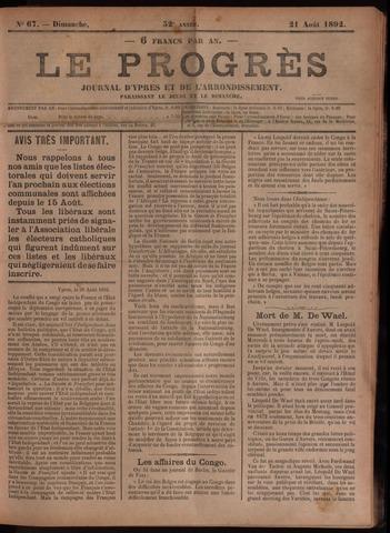 Le Progrès (1841-1914) 1892-08-21