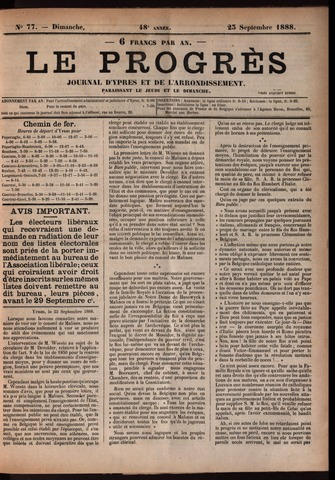 Le Progrès (1841-1914) 1888-09-23
