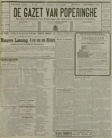 De Gazet van Poperinghe  (1921-1940) 1922-10-01