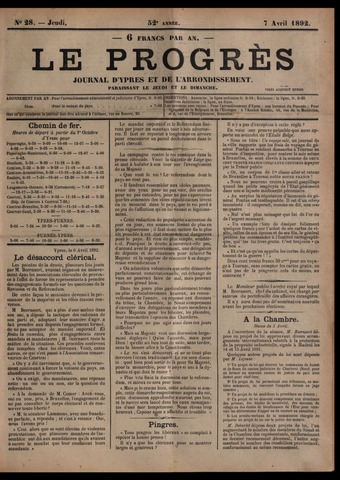 Le Progrès (1841-1914) 1892-04-07
