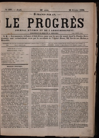 Le Progrès (1841-1914) 1880-02-26