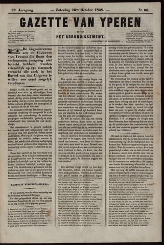 Gazette van Yperen (1857-1862) 1858-10-16