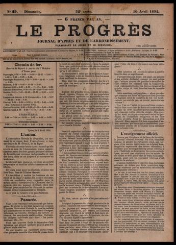 Le Progrès (1841-1914) 1892-04-10