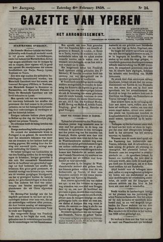 Gazette van Yperen (1857-1862) 1858-02-06