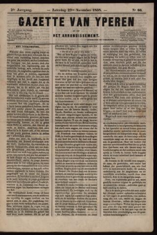 Gazette van Yperen (1857-1862) 1858-11-27