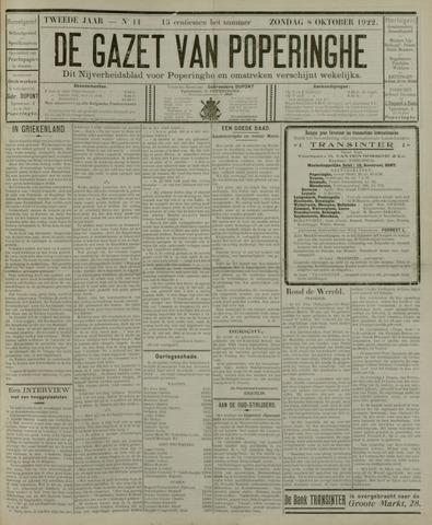 De Gazet van Poperinghe  (1921-1940) 1922-10-08