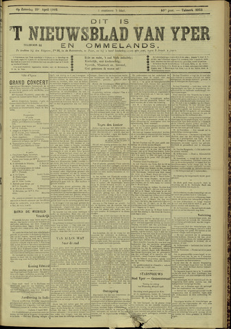 Nieuwsblad van Yperen en van het Arrondissement (1872 - 1912) 1905-04-29