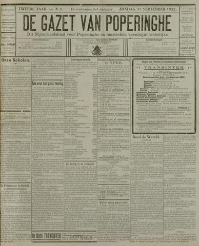 De Gazet van Poperinghe  (1921-1940) 1922-09-17