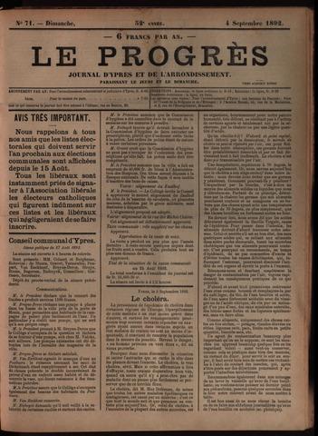 Le Progrès (1841-1914) 1892-09-04