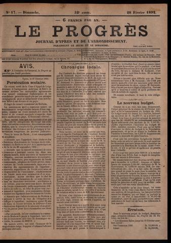 Le Progrès (1841-1914) 1892-02-28