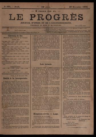 Le Progrès (1841-1914) 1892-12-29