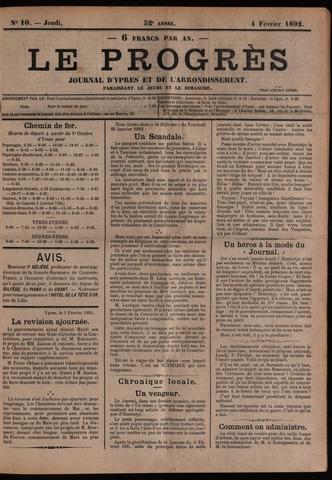 Le Progrès (1841-1914) 1892-02-04