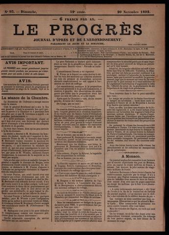 Le Progrès (1841-1914) 1892-11-20