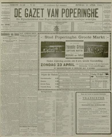 De Gazet van Poperinghe  (1921-1940) 1922-04-23