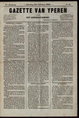 Gazette van Yperen (1857-1862) 1858-02-27