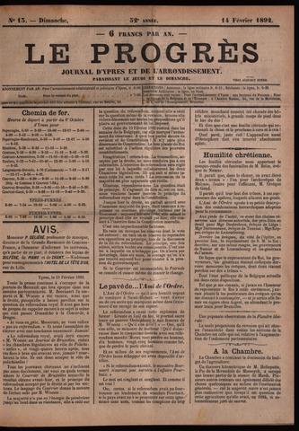 Le Progrès (1841-1914) 1892-02-14