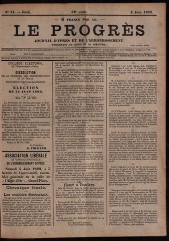 Le Progrès (1841-1914) 1892-06-02