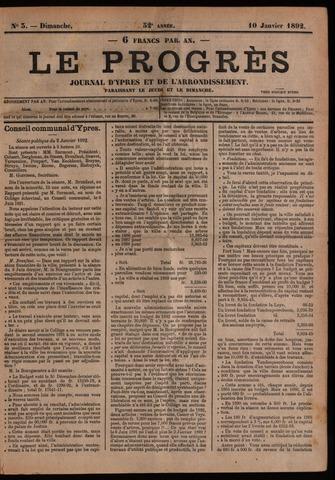 Le Progrès (1841-1914) 1892-01-10