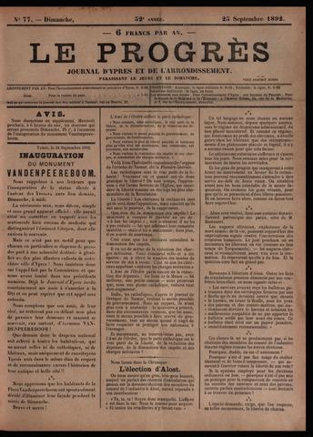 Le Progrès (1841-1914) 1892-09-25