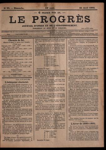 Le Progrès (1841-1914) 1892-04-24