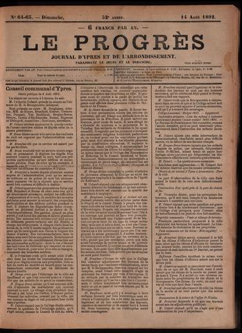 Le Progrès (1841-1914) 1892-08-14