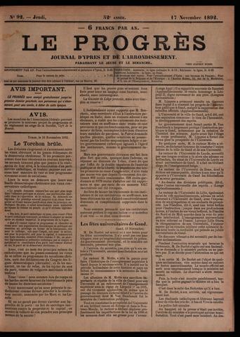 Le Progrès (1841-1914) 1892-11-17
