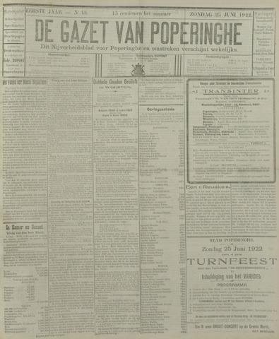 De Gazet van Poperinghe  (1921-1940) 1922-06-25