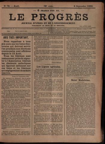 Le Progrès (1841-1914) 1892-09-08